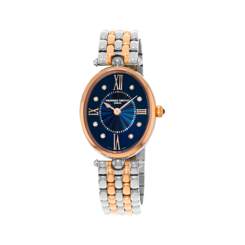 FREDERIQUE CONSTANT - Classique Art Deco Oval Navy Blue Diamonds Bicolor RG - Dámske hodinky