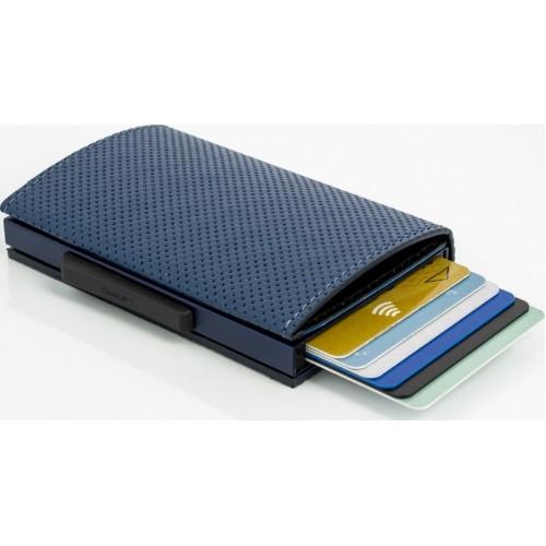 OGON - CASCADE WALLET Traforato Navy Blue - Kožená kaskádová peňaženka na karty a bankovky