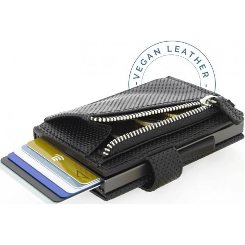 OGON - CASCADE ZIPPER WALLET SNAP Traforato Black - Kaskádová peňaženka na mince, karty a bankovky