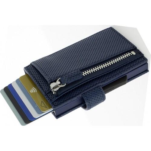 OGON - CASCADE ZIPPER WALLET SNAP Traforato Navy Blue - Kaskádová peňaženka na mince, karty a bankovky