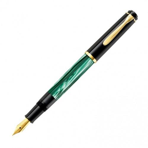 PELIKAN - M200 ELEGANCE Classic Gold Green-marbled - Plniace pero hrot M - Piestový mechanizmus