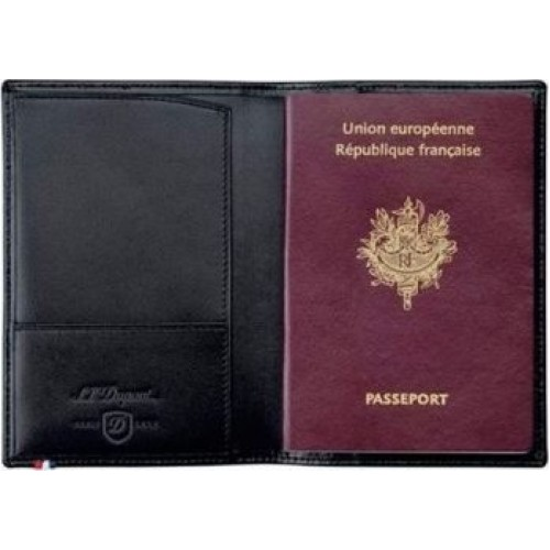 S.T. DUPONT - Line D Black Passport Cover - Kožený obal na cestovný pas